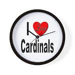 I Love Cardinals Wall Clock