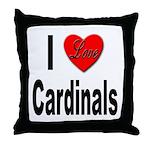 I Love Cardinals Throw Pillow