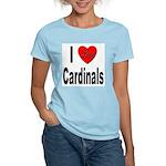 I Love Cardinals (Front) Women's Pink T-Shirt