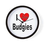 I Love Budgies Wall Clock