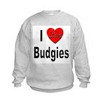I Love Budgies (Front) Kids Sweatshirt