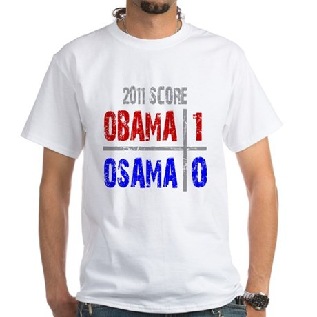 Obama 1 Osama 0 White T-Shirt