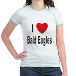 I Love Bald Eagles (Front) Jr. Ringer T-Shirt