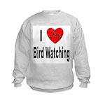 I Love Bird Watching (Front) Kids Sweatshirt