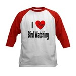 I Love Bird Watching (Front) Kids Baseball Jersey