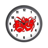 Red Masks Wall Clock