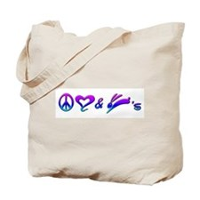 Rainbow Peace Love & Bunnies Tote Bag