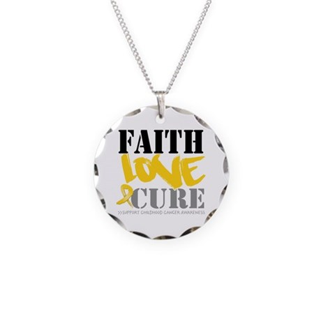 Faith Childhood Cancer Necklace Circle Charm