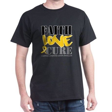 Faith Childhood Cancer Dark T-Shirt