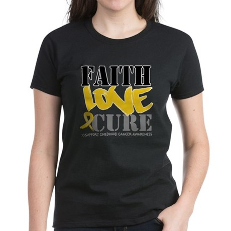 Faith Childhood Cancer Women's Dark T-Shirt