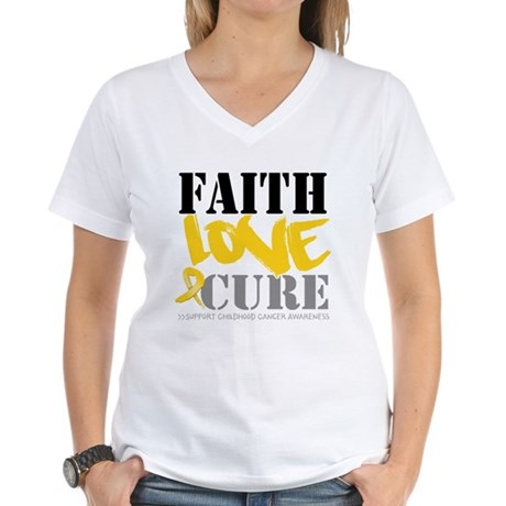 Faith Childhood Cancer Women's V-Neck T-Shirt