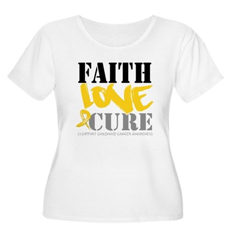 Faith Childhood Cancer Women's Plus Size Scoop Nec