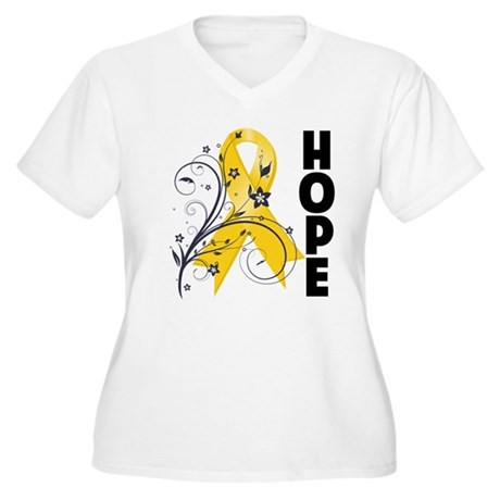 Hope Childhood Cancer Women's Plus Size V-Neck T-S