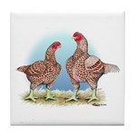 Cornish Chickens WLRed Tile Coaster