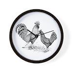 California Grey Chickens Wall Clock