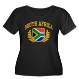 South Africa Women's Plus Size Scoop Neck Dark T-S
