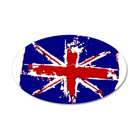Retro Shredded Union Jack 38.5 x 24.5 Oval Wall Pe