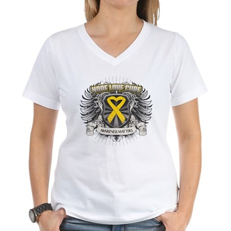 Child Cancer Hope Love Women's V-Neck T-Shirt