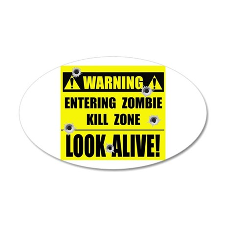 WARNING: Zombie Kill Zone 20x12 Oval Wall Decal
