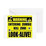 WARNING: Zombie Kill Zone Greeting Cards (Pk of 20