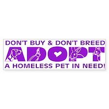 Purple Adopt Bumper Stickers