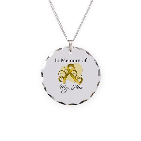 In Memory Childhood Cancer Necklace Circle Charm
