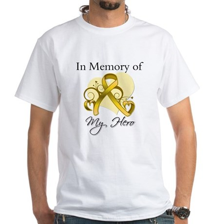 In Memory Childhood Cancer White T-Shirt