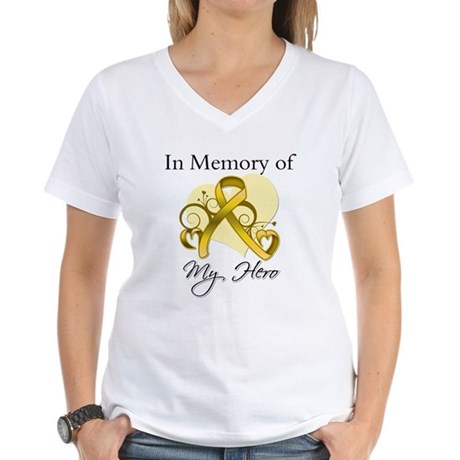 In Memory Childhood Cancer Women's V-Neck T-Shirt