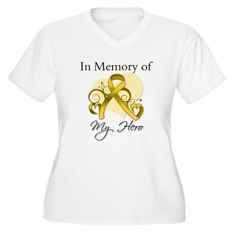 In Memory Childhood Cancer Women's Plus Size V-Nec