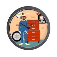Sock Monkey Mechanic Wall Clock