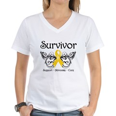Survivor Childhood Cancer Women's V-Neck T-Shirt