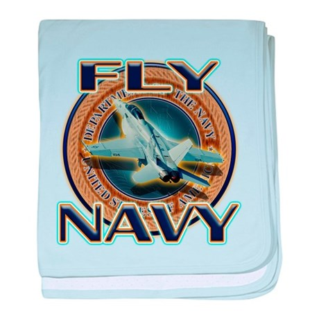 Fly Navy baby blanket