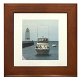 Charlevoix Boat and Lighthouse Framed Tile
