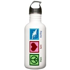 Peace Love Surfing Water Bottle