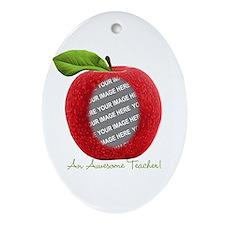 Teacher's Apple Custom Photo Ornament (Oval)