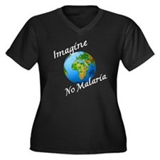 Unique Globe Women's Plus Size V-Neck Dark T-Shirt