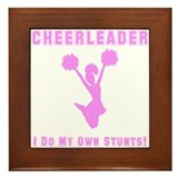 Cheerleader Stunts Framed Tile
