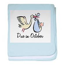 Due In October Stork baby blanket