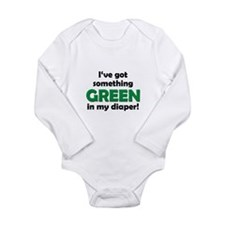 Green Diaper Long Sleeve Infant Bodysuit