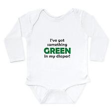 Green Diaper Long Sleeve Infant Bodysuit