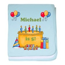 Boys customized birthday baby blanket