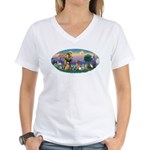 StFrancis-Dogs-Cats-Horse Women's V-Neck T-Shirt