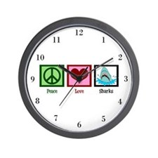 Peace Love Sharks Wall Clock