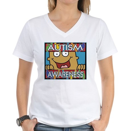 Smile Autism Awareness Women's V-Neck T-Shirt