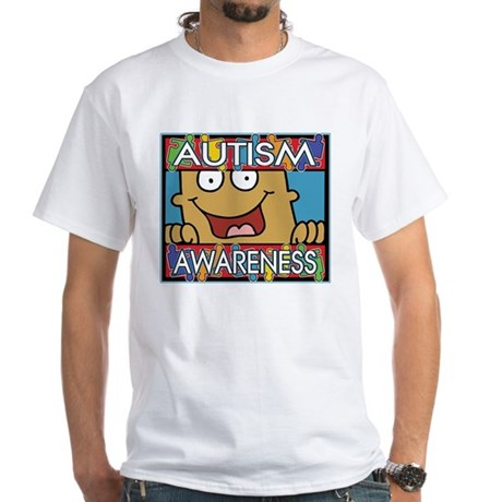 Smile Autism Awareness White T-Shirt
