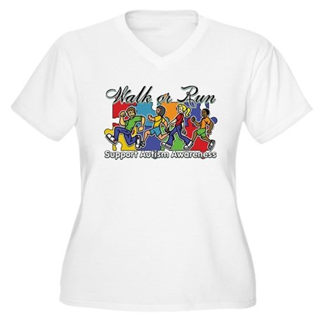Walk or Run Autism Women's Plus Size V-Neck T-Shir