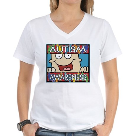 Funny Autism Awareness Women's V-Neck T-Shirt