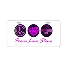 PEACE LOVE STENO Aluminum License Plate