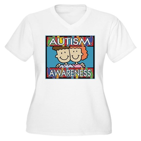 Cute Autism Awareness Women's Plus Size V-Neck T-S