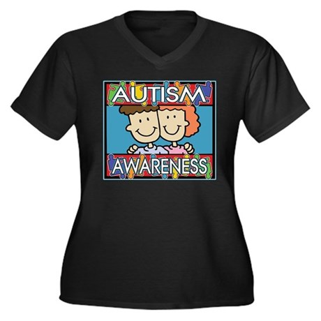 Cute Autism Awareness Women's Plus Size V-Neck Dar